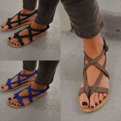 5fe76eef19c Womens Beach Flip-Flops Bohemia Flats Open Toe Gladiator Sandals Shoes  Summer