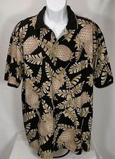 Mens Bamboo Cay Fine Resort Wear Tropical Hawaiian Golf Polo Shirt XL Blk Palm #BambooCay #Hawaiian