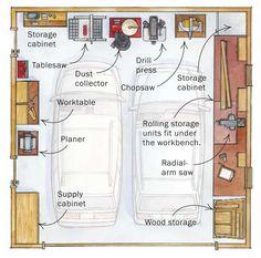 two garage workshop layout