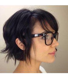 Short chin length wavy textured bob cut dark brunette black texture waves layers fringe swept bangs fringe
