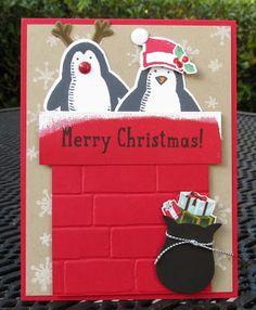 Krystal's Cards: Stampin' Up! Snow Place - Penguin Santa #stampinup…