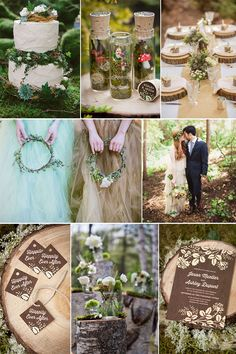 Woodland Wedding Inspiration Board featuring Woodland Bliss Stationery and Accessories from Evermine {www.evermine.com}