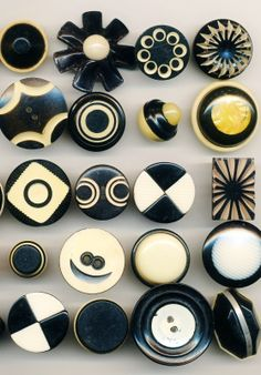 Black and Cream Vintage Celluloid Buttons