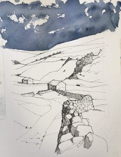 Drawn in Yorkshire – The online home of John Harrison, artist: purveyor of line drawings with watercolour Landscape Sketch, Landscape Drawings, Urban Landscape, Watercolor Landscape, Abstract Landscape, Landscape Paintings, Line Drawing, Drawing Sketches, Art Drawings