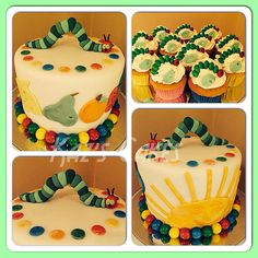 The Very Hungry Caterpillar mud cake and butter cake cupcakes with vanilla buttercream to match the theme. #cake #cupcakes #VHC #cakedecorating #caterpillar