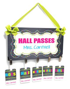 teacher classroom hall passes chalkboard background with bright neon colors - HP53 by kasefazem on Etsy https://www.etsy.com/listing/241168613/teacher-classroom-hall-passes-chalkboard