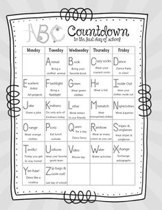 14 Alphabet Countdown Calendars: Here Comes the End of the Year! 14 Alphabet Countdown Calendars - free printable ABC countdown to summer - KindergartenWorks Kindergarten Graduation, Preschool Classroom, Kindergarten Classroom, Kindergarten Activities, Abc Countdown Kindergarten, Montessori Activities, Preschool Lessons, Future Classroom, Preschool Ideas