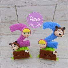 Velas decoradas Masha e o Urso -   Festa infantil - Paty's Biscuit
