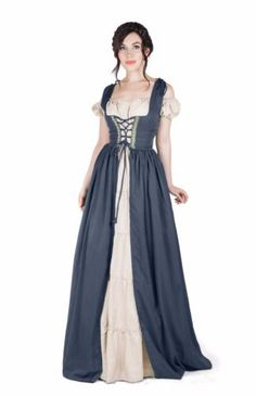 Renaissance-Medieval-Irish-Costume-Over-Dress-Boho-Chemise-Set
