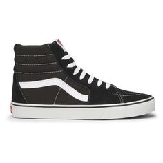Vans Sk8-Hi Canvas Hi-Top Trainers - Black/White (19.795 HUF) ❤ liked on Polyvore featuring men's fashion, men's shoes, men's sneakers, mens low tops, mens shoes, mens canvas sneakers, mens hi top shoes and vans mens shoes