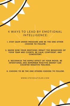 The most gifted leaders achieve success by employing abilities known as emotional intelligence.   They are able to keep a pulse on the mood of their teams. They are self-aware of their emotional transfer. They manage their own emotions under stress while intuitively grasping how others feel and helping re-direct emotions in a more powerful, positive direction.  #emotionalintelligence #teambuilding #success #leadership