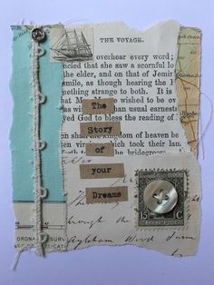 These are some cards I made for the Crafty Vintage Market. I used to make a lot of cards like these but haven& made any for . Paper Collage Art, Collage Art Mixed Media, Paper Art, Art Journaling, Art Journal Pages, Junk Journal, Easy Paper Crafts, Book Crafts, Kid Crafts