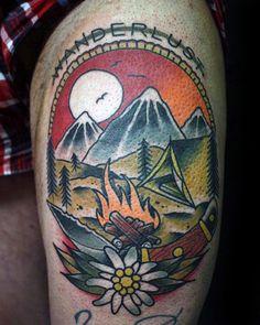 Mens Wanderlust Campfire Nature Thigh Tattoo