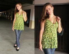 Shaded green crochet top