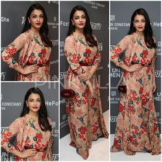 #cannes2015 Aishwarya Rai shows flower power in Sabyasachi. Finally some color from her. She looks beautiful