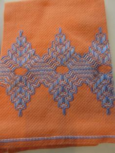 Vintage Orange and Blue Tea Towels Swedish Huck Embroidery Swedish Embroidery, Hardanger Embroidery, Types Of Embroidery, Beaded Embroidery, Embroidery Patterns, Orange Tea Towels, Peach Color Schemes, Huck Towels, Swedish Weaving Patterns