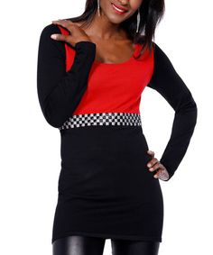 This Black & Belldini Red Checkerboard-Belt Tee is perfect! #zulilyfinds