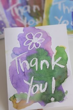 Crayon Resist Art: homemade Thank You cards (happy hooligans)