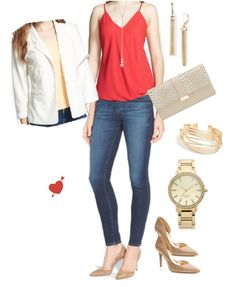 Valentine's Day outfit with sexy red top & jeans