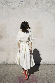 Black Crane Wrap Skirt in Cream | Oroboro | Brooklyn, New York