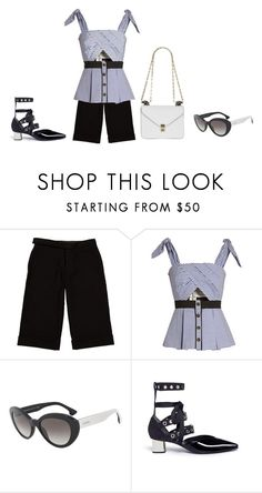 """""""Untitled #6302"""" by lovetodrinktea ❤ liked on Polyvore featuring A.P.C., self-portrait, Prada and Valentino"""