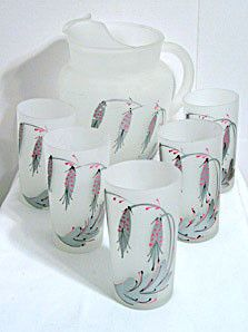Anchor Hocking - Frosted Pitcher & Glasses Set - 6 pc
