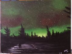 Aurora Alaska Night - Acrylic Painting - 12x16 inch - signed by MaxZgallery on Etsy