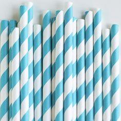 Paper Straws: Peacock Stripes
