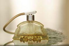 ART DECO VANITY GLASS SET - ATOMIZER 1920-1930s, Czechoslovakia, cut citrine glass TOALETNÍ SADA FLAKON Československo, broušené citrínové sklo Antiques For Sale, Soap Dispenser, Perfume Bottles, Deco, Beauty, Soap Dispenser Pump, Perfume Bottle, Decor, Deko