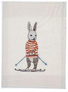 'Ski Bunny' embroidered stationery.