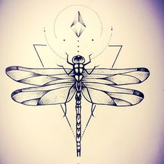 #dragonfly for Megan by #misssita #dragonflytattoo #geometrictattoo #geometry #triangles #dotswork (presso One O Nine)