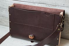 Leather wood briefcase messenger bag. Hand stitched dark by viveo