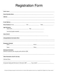Registration Form Childu0027s Name  Enrollment Form Template Word
