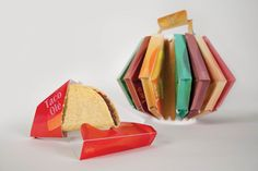 taco ole by Guo Wei Chen, via Behance This Taco Packaging is just great. It contains 20 individually packaged tacos that are colored by flavor. Sauce and napkins are in the center.