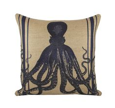 Navy Octopus Pillow Cover Nautical Burlap Cushion by TheWatsonShop, $46.00