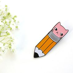 Pencil Kitty soft enamel lapel pins by PonyPonyPeoplePeople