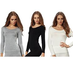 Liang Rou Women's Plain Basic Scoop Neck Stretch Long Sleeve Thin Thermal Top 3-Pack >>> Be sure to check out this awesome product.