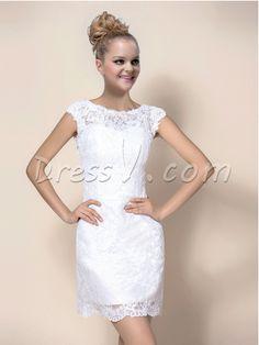 I love this cute Sheath Jewel Cap Sleeves Wedding Dress! Amazing Wedding Dress, Cute Wedding Dress, Wedding Dress Sleeves, Wedding Dresses, Lace Wedding, Reception Dresses, Wedding Attire, Cute Dresses, Prom Dresses