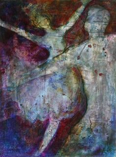 Romantic original painting acrylic on paper abstract expresionism