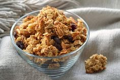 Extra Clumpy Peanut Butter & Maple Granola    4 c. old-fashioned (large flake) oats  2 c. sliced or slivered almonds  1 c. shredded coconut  1/4 t. fine sea salt  1/2 c. creamy peanut butter  1/3 c. brown sugar  1/2 c. maple syrup (the real stuff!) or liquid honey  1 c. dried fruit, such as raisins, cranberries, cherries, chopped dried figs, dates or apricots