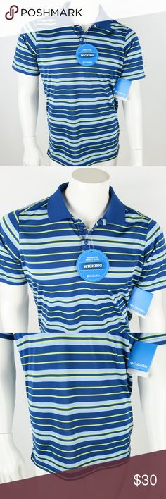 "Columbia Real Seat Omni-Wick PFG Polo Shirt Columbia Real Seat Omni-Wick PFG Polo Men's size Small New with tags Blue and Green Striped Short Sleeve Inventory #D3  Measurements: Armpit to Armpit: 21"" Shoulder to hem: 28"" Columbia Shirts Polos"