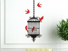 Items similar to Bird Cage Wall Decal with Bird Cage, 5 Birds and 1 length of hanging chain on Etsy Wall Stickers Birds, Wall Decal Sticker, Vinyl Decals, Bird Bathroom, Bathroom Wall Decor, Red Design, Room Accessories, Vinyl Wall Art, Bird Cage