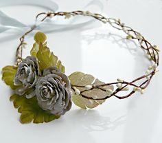 Flower Crown Pine cone rose crown flower girl hair by NautilusJAP, $45.00