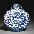 A rareblue and white 'dragon' moonflask, Qing dynasty, Qianlong period