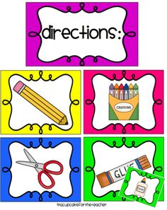 A Cupcake for the Teacher: Classroom Labels Starter Kit! and Picture Directions {Freebie}.now I won't have to try and draw these things any more! Classroom Labels, Classroom Organisation, Teacher Organization, Kindergarten Classroom, Art Classroom, Classroom Management, Classroom Ideas, Organization Ideas, Organizing