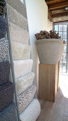 oversized planters on oak plinths Bar Design, Design Studio, Design Ideas, Cutting Edge Stencils, Fabric Display, Scarf Display, Towel Display, Over The Top, Warehouse Design