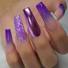 25 Nice Purple Crome Nails Ideas for 2019 - Fashion Yellow Nails Design, Yellow Nail Art, White Nail Art, White Nails, Fabulous Nails, Gorgeous Nails, Pretty Nails, Cool Nail Designs, Acrylic Nail Designs