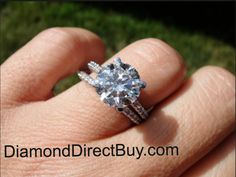 3 carat diamond center round on a this pave diamond band available at DiamondDirectBuy.com