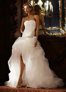 Organza and Tulle High-Low Wedding Gown w Beaded Flower Style SPK470 David's Galina Signature. High low wedding dress.