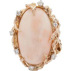 Stunning Huge 20ct Natural Angel Skin Coral 14K Karat Gold .75cttw Diamond Cocktail Dinner Ring